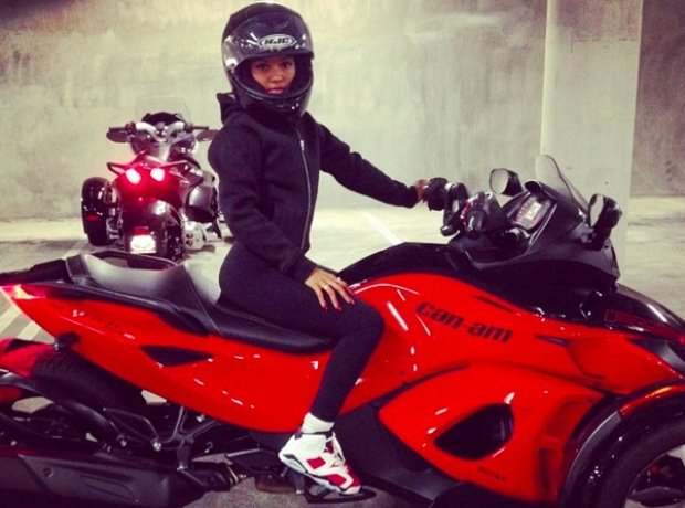 Chris Brown's girlfriend karrueche on motorbike