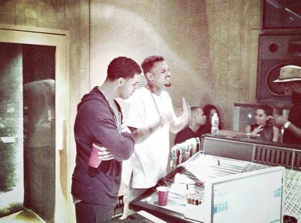 Drake and Chris Brown in the recording studio