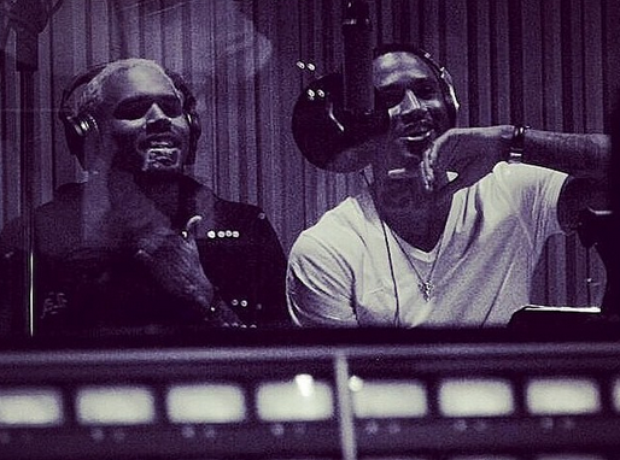 Chris Brown and Trey Songz in studio