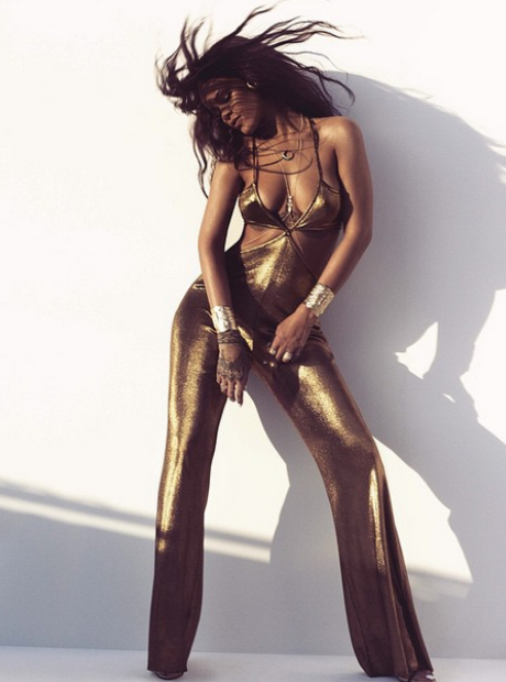 Rihanna gold jumpsuit Harpers Bazaar