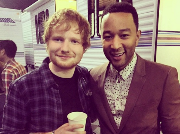 Ed Sheeran and John Legend at Stevie Wonder concer
