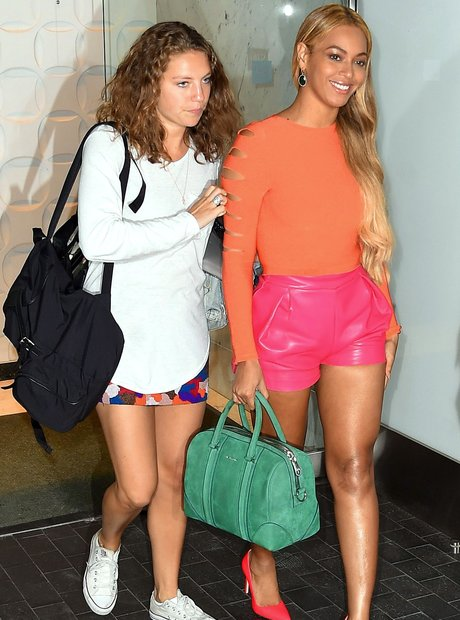 Beyonce in pink leather shorts