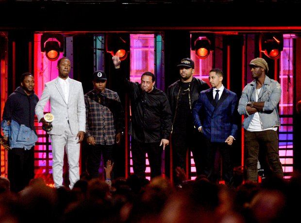 Kendrick Lamar with Straight Outta Compton cast