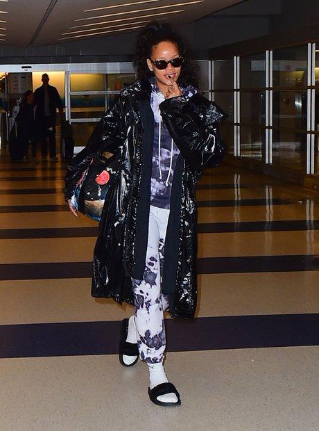 Rihanna arriving at JFK Airport