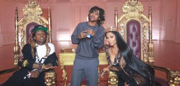 Nicki Minaj and Lil Wayne on the set of 'No Frauds